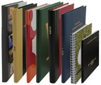 a variety of custom log books, blank books and record books